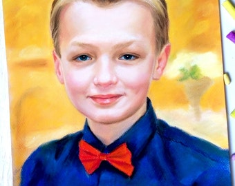 Children portraits Custom Portrait Pastel portrait from photo Pet portrait boy for her present birthday to the Mother's Day