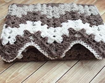 PDF Crochet Pattern - Random Stripe Granny Ripple Afghan