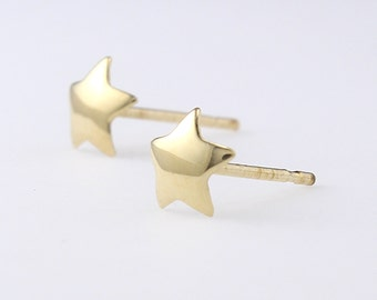 14K Solid Gold Star Studs Earrings, Tiny Star Studs, Star Earrings, Minimalist Earrings, Simple Studs