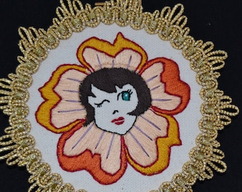 Winking Flora Embroidered Mini Wall Hanging Hoop