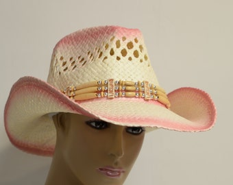 Fashion cowboy hat with rolled brim, duo-tone color staining and beaded