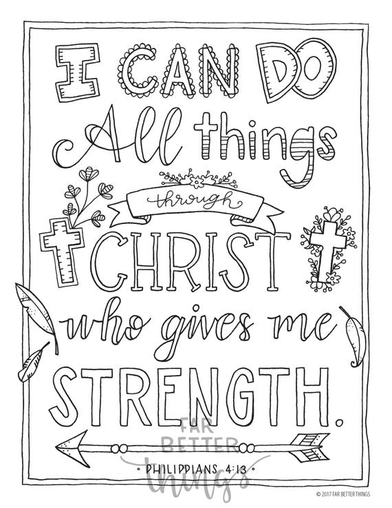 bible verse coloring page philippians 413 printable coloring page bible coloring pages christian kids activity christian coloring - Philippians 4 6 Coloring Page