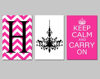 Keep Calm Carry On, Chevron Monogram, Chandelier Trio - Set of Three 13x19 Prints - CHOOSE YOUR COLORS - Yellow, Gray, and More