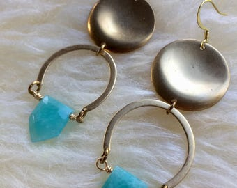Faceted amazonite drop earrings