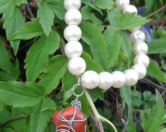 Wire Wrapped Red Jasper Faux Pearl bracelet