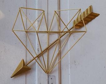 Gold Metal Geometric Heart and Arrow Wall Decor / Gold Metal Wall Art / Gold Wrought Iron Wall decor / Gold Metal Arrow Wall Art
