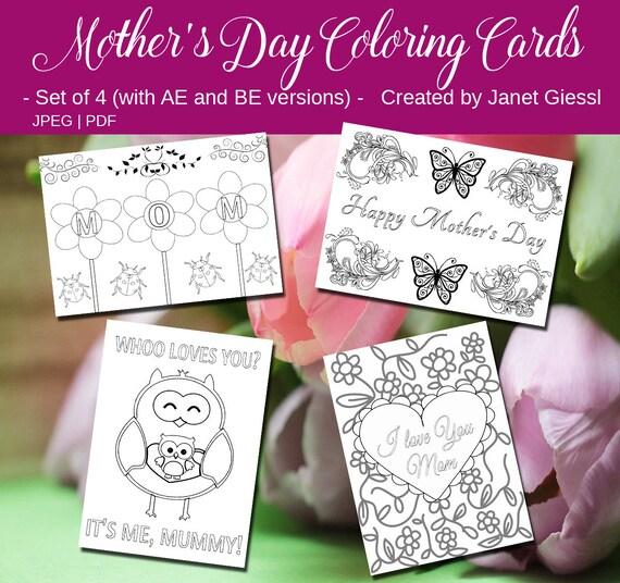 Muttertag-Färbung-Karten Set von 4