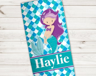 Beach Towel | Mermaid Personalized | Extra Large 30x60 | Ultra-Soft Sheared Microfiber | Summer | Gift | Little Girl