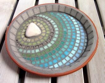 Sunbleached Ripple Mosaic Garden Bird Water Bath