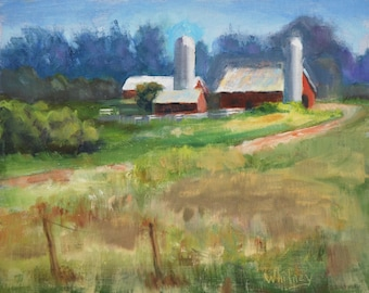 """Wisconsin Landscape, Small Painting, Farm, Small Oil Painting, Red Barn, Door County Oil, Original Paintings on Canvas Sue Whitney 8 x 10"""""""