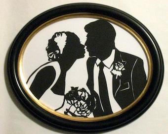 Custom Silhouette Wedding Portrait First Anniversary Gift