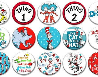 "2-1/4"" -   Dr. Seuss  -  Lot of 15 Buttons - Pin Back Button Badge"
