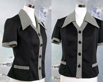 1970s Women's Top, Vintage Black Short-Sleeve Blouse w Black White Striped Wide Collar & Accents, Carol Brady Bunch Top: 10 US, 14 UK