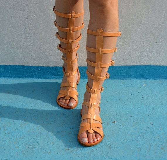 Knee Boots Leather Gladiator Gladiator Greek Ancient ''Elektra'' Greek sandals Spartan sandals Sandals High Sandals CrwqTwpXn