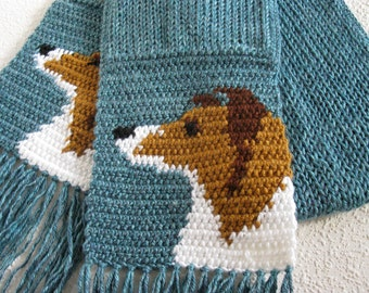 Collie Dog Scarf.  Glacier blue, crochet and knit scarf with Shetland Sheepdog or Sheltie dogs.  Rough coated collie. Animal scarf