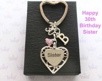 Sister 30th birthday gift - 30th keychain - Sister gift - Personalised 30th keyring - Personalised sister keyring - Sister keychain - UK