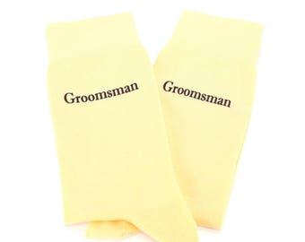 Wedding Groomsman Custom Text Canary Yellow Solid Wedding Socks for Groomsmen, Groom, Ushers, Fathers