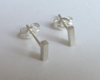 Tiny silver stud earrings Teeny tiny skinny sterling silver ultra thin 5mm square bar stud earrings-Geometric studs 0017