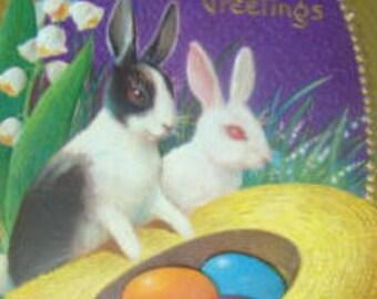 Vintage Easter Postcard (Rabbits)