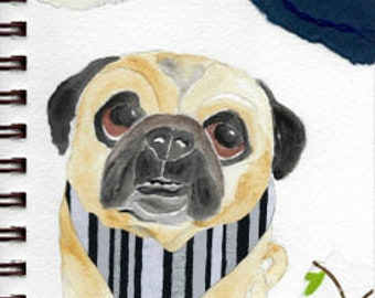 "Pug Print - Sketchbook Series - Watercolor & Collage - ""Debonair"""