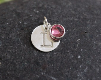 """Initial and birthstone charm - sterling silver - 12.7mm (1/2"""") initial disc with crystal birthstone"""