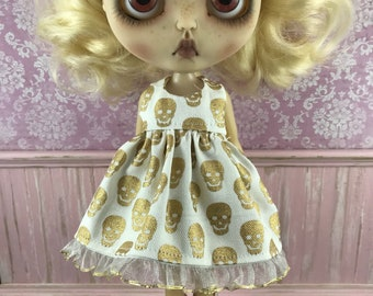 SALE - Blythe Dress - Gold Skulls