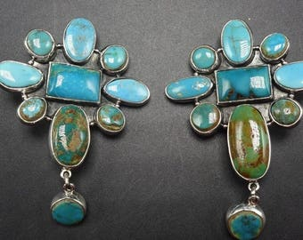 New FEDERICO JIMENEZ Sterling Silver TURQUOISE Cluster Earrings Clip-On Cross