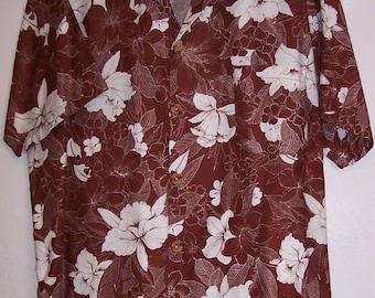 California Shores Shirt M Men's Brown Aloha Hawaiian Floral Hibiscus Button Down