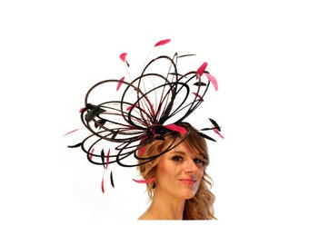 Black and Hot Pink  Large Feather Fascinator Hat - Perfect for a Mother of The Bride, ladies day - choose any colour feathers and satin