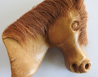 Carved Wooden Horse Head Brooch with Horse Hair