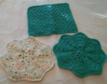 Crochet Dishcloth Teal And Two Hot Pads Teal And Variegated Double Thickness 100 Per Cent Acrylic Yarn
