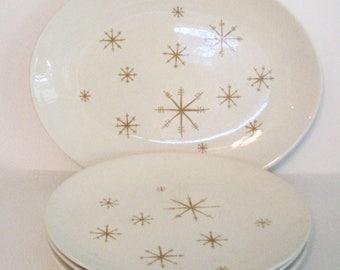 Midcentury Star Glow Platter and Plates Royal China Mod