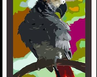 "African Grey Parrot w/ Vivid Jeweltones/  4.5"" x 5x 5"" inches"