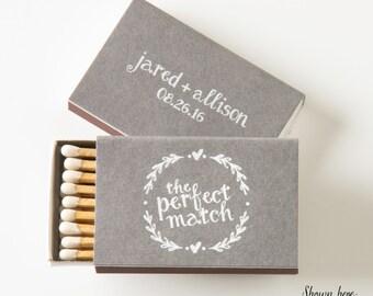 HEART WREATH Matchboxes - Wedding Favors, Wedding Matches, Wedding Decor, Personalized Matches, Custom Matchboxes, Rustic Wedding, Match Box