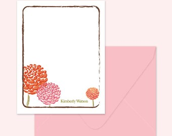Personalized note cards, Thank you cards, Printed cards or Digital File - Dahlia Flowers