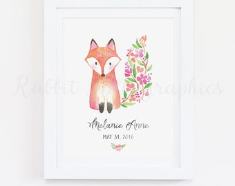 Fox Nursery Print, Woodland Nursery, Custom Name Print, Personalized Baby Name, Birth Date, New Baby, Baby Girl, Watercolor, Custom Monogram