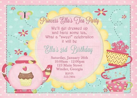 Tea party birthday party tea party invitation dress up stopboris Choice Image