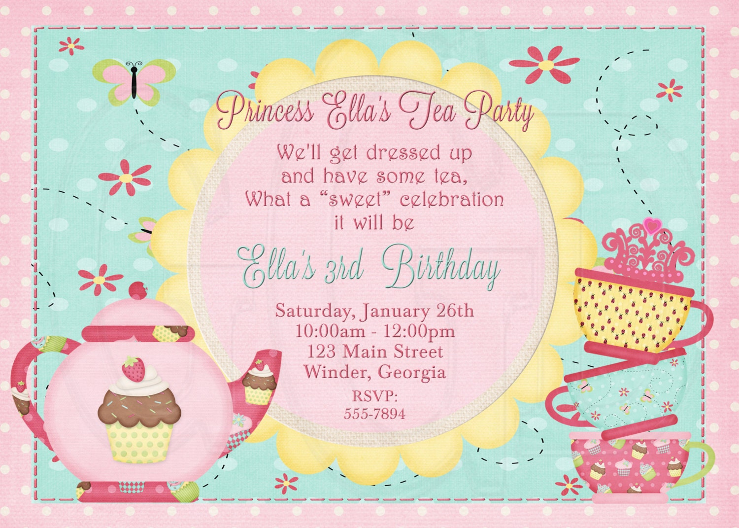 Tea Party Birthday party Tea Party Invitation Dress up
