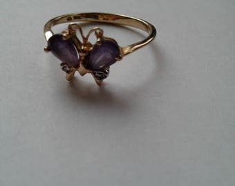 Butterfly 10K Gold Ring-Perfect Gift -Great for Amethyst/Nature Lover