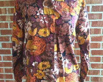 Vintage Gitano orange, purple, yellow, and brown button down autumn floral blouse. Size M