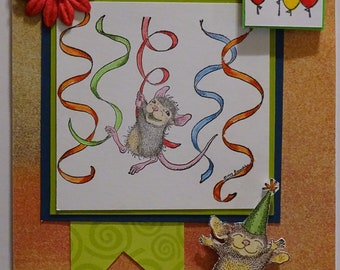 House Mouse Card,Birthday,streamers,party,celebrate,mice, greeting card
