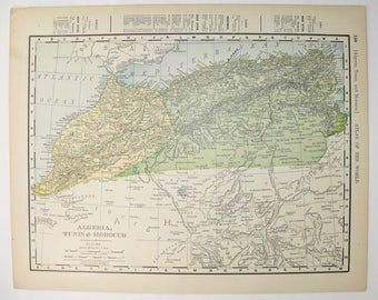 Northwest Africa Map Morocco, Algeria Map Tunis 1900 Antique Map Barbary Coast, Mediterranean Coast Map Sahara Desert Africa Gift for Friend