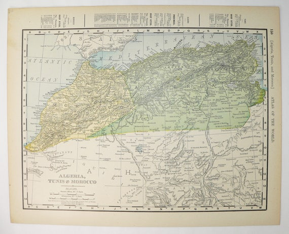 Northwest Africa Map Morocco Algeria Map Tunis 1900 Antique