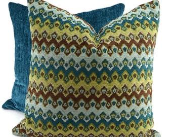 Turquoise, Brown Green & Blue Chenille Chevron Pillow Cover, Moroccan Throw Pillow Cover, Lumbar Pillow, 16x16, 18x18, 20x20, 22x22