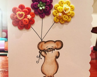 Small Mouse Card with Button Balloons