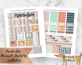 November Monthly Kit Sweater Weather Printable Planner Stickers- November Monthly View- Erin Condren Planner Stickers