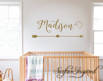 Wall Decals Personalized Names Nursery Wall Decal Kids Wall Decal Wall Decal Quote Wall Decals For Girls or Boys Arrow Madison Heart Decal