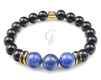 Lapis lazuli and onyx bracelet