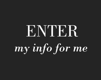 Enter Personal Info