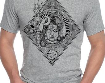 "Dorje ""Shiva Parvati | Psy t-shirt | Trippy Cotton t-shirt for Men | Unique tshirt indian gods Shiva & parvati, Trance Rave wear"